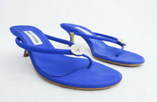 MANOLO BLAHNIK DOLE BLUE EMBELLISHED THONG SANDALS 39.5 IN BOX $645