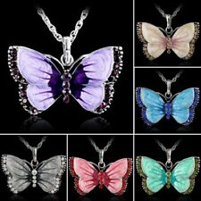 Fashion Rhinestone Crystal Butterfly Chain Charm Pendant Necklace Jewelry Gift
