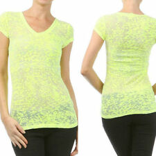 Shirt Top V Neck Neon Yellow Burnout Casual New Size S M See Thru Comfy