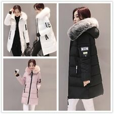 New Women's Warm Fur Collar Hooded Coat Quilted Jacket long Down Cotton Parka HO