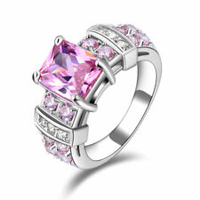 Dazzling Pink Sapphire 10KT Gold Filled Women's Anniversary Ring Gifts Size 6-10