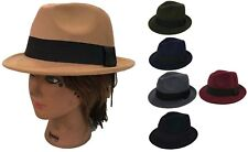 FEDORA TRILBY GANGSTER FEDORA BUCKET HAT MEN WOMEN CAP with Band /Size : 57 cm