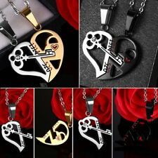 Valentines 2Pcs Stainless Steel Key Heart Pendant Necklace Jewelry Couples Gift