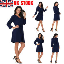UK Women Long Sleeve V Neck Plain Waist Party Business Casual Swing Midi Dresses