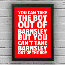 BARNSLEY - BOY/GIRL FRAMED WORD TEXT ART PICTURE POSTER Red White