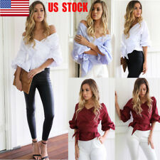 US Women V Neck Off Shoulder Top Lace Up T-Shirt Long Sleeve Party Casual Shirt