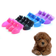 4pcs Winter warm puppy candy pet shoes booties rubber dog waterproof rain boots