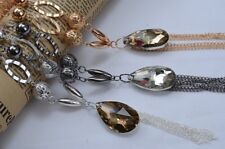 Large Crystal Water Drop Pendant Tassel Gold Silver Beads Long Chain Necklace