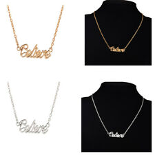 Best Gift - Tiny Believe Letters Pendant Necklace 16'' Chain for Women Girl
