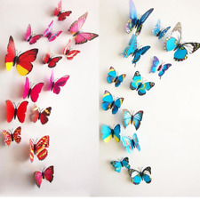 12Pcs 3D Stereoscopic Butterfly Wall Sticker Living Room Home Decoration Decal D
