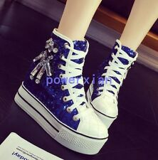 Womens Girls Diamond Sequins Lace Up Sneakers Platform Wedge Muffin Shoes 3-7