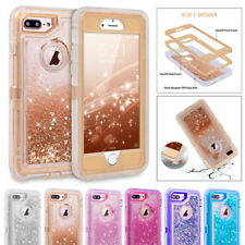 Glitter Bling Flowing Quicksand Liquid Clear Hybrid Case Cover For Apple iPhone