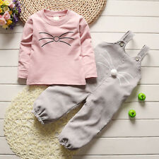 Winter Kid Child Girl Long Sleeve Cotton T-shirt + Corduroy Overalls Set Clothes