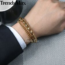 Mens Bracelet Chain Stainless Steel Silver Gold Wheat Box Link Polished 8-10inch