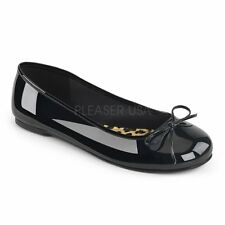 Pleaser Pink Label ANNA-01 Black Patent Ballet Flats