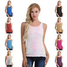 Women Lady Glitter Sequin Vest Top Sleeveless Blouse Casual Tank Tops T-Shirt
