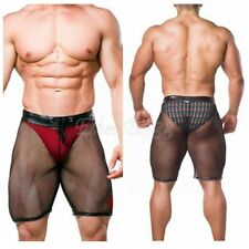 Mens Lingerie Fishnet See-through Boxer Shorts Drawstring Lounge Short Underwear