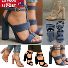 AU Ladies Gladiator Ankle Strap Block Hight Heels Strappy Sandals Party Shoes