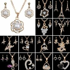 18K Yellow Gold Filled CZ Pearl Love Heart Earrings Necklace Set Women Jewelry