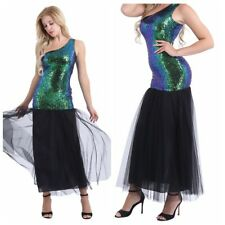 Women's Sequin Mermaid Long Evening Formal Party Ball Prom Gown Vintage Dress UK