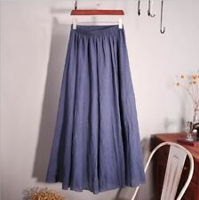 New Fashion Cotton Long Elastic Waist Maxi Beach Vintage Summer Skirt For Women