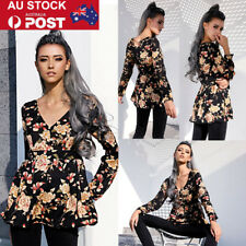 AU Womens V neck Floral Printed Blouse Long Sleeve Pullover Shirt Summer Tops