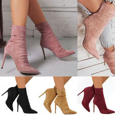 Women Plain Knight Ankle Boots High Stiletto Heels Zip Up Party Club Shoes Size