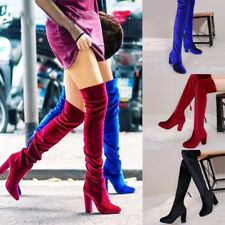 Womens Velvet Over The Knee Boots High Heels Pointed Clubwear Stretch Shoes Size