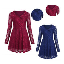 Women's Vintage Lace V Neck Formal Wedding Cocktail Evening Party Swing Up Dress