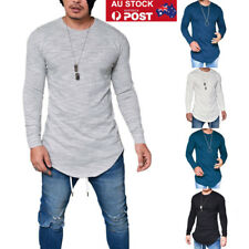 AU Men Slim Fittness Long Sleeve Muscle Tee T-shirts Casual Tops Pullover Blouse