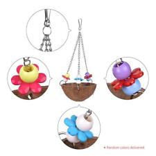 Parrot Hanging Swing Chew Toy Coco Wood Bird Cage Accessories Toys Stand J0J1