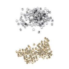100x Metallic Acrylic Alphabets Letters Beads Cube Spacer Jewelry Making