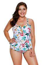 New Ladies Tropical Floral Print Peplum One Piece Swimsuit