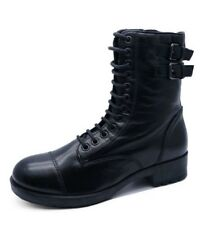 LADIES GENUINE LEATHER BLACK FLAT ZIP-UP MILITARY ARMY COMBAT ANKLE BOOTS UK 3-8