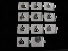 Rhodium  Number Charm Pendant  in Rhodium Overlay     Numbers 81 to 90