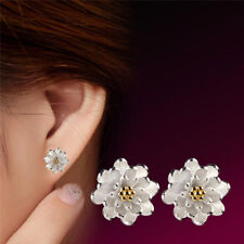 1Pair Flower Silver Plated Ear Studs Earrings Women Elegant Jewelry