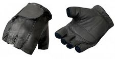 Black NAKED LEATHER Fingerless Gloves Motorcycle Biker Driving Unisex Riding ATV