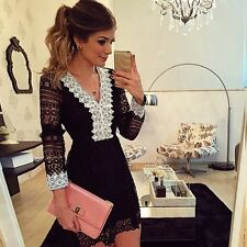 dress women's dress long sleeve black white comfortable swing soft 3181