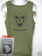 101ST AIRBORNE/ TANK TOP/ OD GREEN/ T-SHIRT/ MILITARY/ SKULL DOUBLE TAP/   NEW