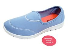 LADIES BLUE SLIP-ON MEMORY FOAM COMFORT WALKING TRAINER PUMPS SHOES SIZES 3-8