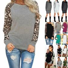 UK Ladies Womens Tops Blouse Leopard Camo Long sleeve Shirt Dress Casual Fashion