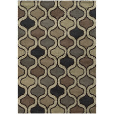 Beige Contemporary Synthetics Curves Waves Curls Area Rug All-Over 532000000