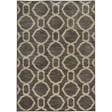Gray Circles Links Hoops Contemporary Area Rug All-Over 46179