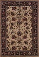 Ivory Traditional - Persian/Oriental Vines Leaves Border Area Rug Floral 431I8
