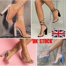 UK Women Block High Heel Lace Up Transparent Sandals Ankle Strap Club Shoes Size