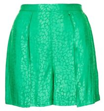 Ex Topshop Petite Green Animal Print Jacquard Shorts Hotpants Size 6 8 10 12 14