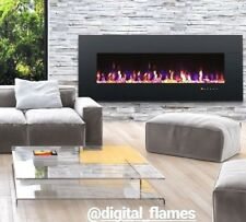 50 INCH LED FLAMES WHITE BLACK GLASS WALL MOUNTED ELECTRIC FIRE FIREPLACE 2018