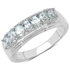 STERLING SILVER CUBIC ZIRCONIA 7 STONE RING WITH PLATINUM OVERLAY