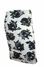 SALE Ladies White/Black Rose print A line skirt