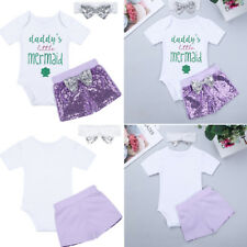 3pcs Newborn Kids Baby Girls Clothes Jumpsuit Romper Bodysuit Short Outfits Set